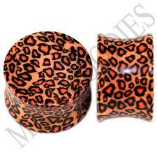 0197 Double Flare Acrylic Leopard Cheetah Print Saddle Ear Plugs 11/16 Inch 18mm