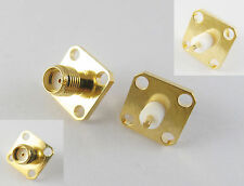 5x SMA Female Jack Chassis Flange Panel Mount 4 Hole RF Solder Connector Adapter