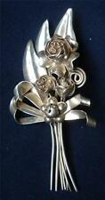 Signed HOBE 1940s STERLING Silver BOUQUET Roses Ribbons Spiral LARGE Pin BROOCH