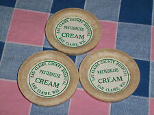 Three Pasteurized Cream Bottle Caps Eau Claire County Hospital 2 1/4 Inch Across