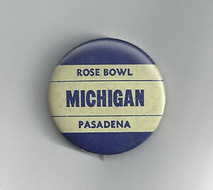 1951 Michigan Wolverines Rose Bowl button vintage original pin NCAA football