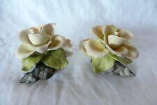 E&R Golden Crown YELLOW ROSES Porcelain Flower Figurines