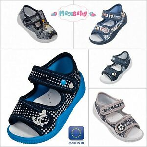 Boys Sandals Summer Shoes Kids Canvas Leather Insole Infant Size 2–8 Toddler