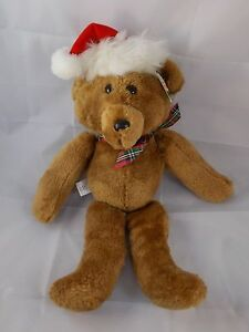"Hallmark Beau Bear Teddy Plush 15"" Christmas Santa Hat Stuffed Animal toy"