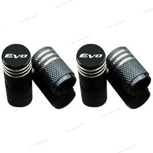 4x Car Accessories Wheel Tire Valve Stems Tyre Caps EVO Logo For Mitsubishi