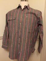 Polo Ralph Lauren Medium M Metal Tab Button Men's L/S Shirt Stripe Green GUC