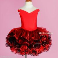 Red Girl Party Shell Costume Dance Occasion Cupcake Dress Size 2-10 Years PT001
