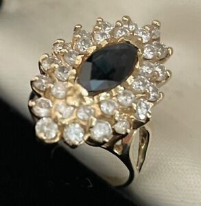One Of A Kind Large 14k Sapphire Diamonds Cocktail Ring Size 5.5