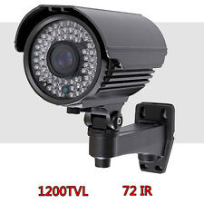 "1/3"" HD Sony Sensor Security Camera 1200TVL Bullet CCTV 72 IR Tube LED OSD GrEK"