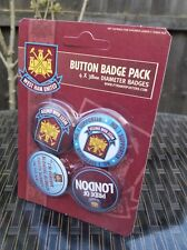 OFFICIAL WEST HAM UNITED BADGE PACK OF 4x 38mm BUTTON BADGES BRAND NEW
