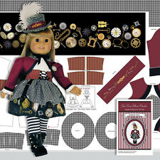 "18"" STEAMPUNK DOLL COSTUME Kit Wine Dress Jacket Hat American Made Doll Panel"
