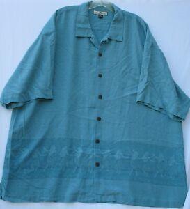 Tommy Bahama men's short sleeve textured silk Hawaiian/Aloha shirt size XXL