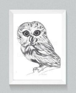 Owl Drawing, Owl Art, owl lover, wall art, bird drawing, nursery, pencil art