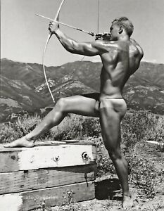 1950s BRUCE BELLAS of Los Angeles Male Nude Archer Gay Int Photo Engraving 11X14
