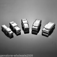 5PCs Stainless Steel Silver LockLogin Clasp For 25mm Leather Bracelet  GW