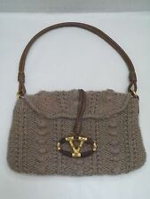 VALENTINO light taupe cashmere knit with jeweled logo detail handbag