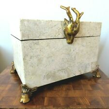 Vintage Maitland Smith Tessellated Marble Large Box w Stag's Head & Feet 12 x 9