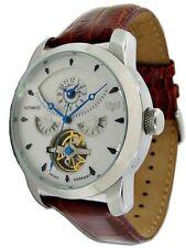 TRIAS Uhren Herrenuhr Automatikuhr Modell Inka mit 2 Zeitzonen braunes Lederband