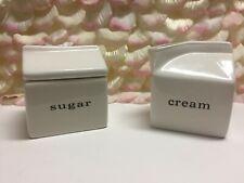 Crate & Barrel - White Ceramic Milk Carton Cream Sugar Set, Modern-PreOwned