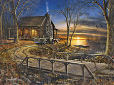 """Cabin On Lake At Sunset""""Simpler Times""""  ByJim Hansel 16x12 WallArt Print Picture"""