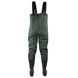 Pro Line Twin River 2-Ply Felt Outsole Bootfoot Chest Waders (12)- Dark Green