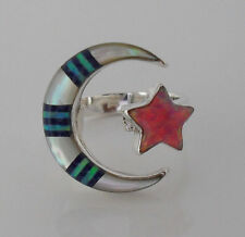 HANDCRAFTED MULTICOLOR MOON STAR CHANNEL INLAY .925 STERLING SILVER RING SIZE 6