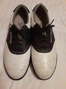 Reebok  Golf Shoes RA612WSI Size 8 Leather White-Black