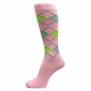 Light Pink/Lime Green/ L Grey Men's Groomsmen Wedding Argyle Dress Socks -MA052