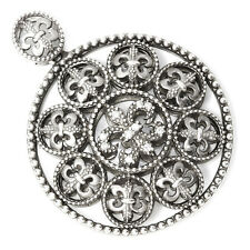 Fleur de Lis Pendant with Diamonds in Sterling Silver Circle Shape .10ctw