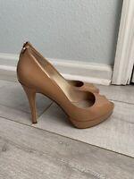Michael Kors YORK Patent Leather Platform Peep Toe Heel NUDE Pumps SIZE 8