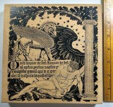 """RARE HUGE Mythology Man, Pegasus, Wing Latin Collage 7x7"""" RETIRED Stamp NEW"""