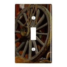 Wagon Wheel and Chipmunk Plastic Wall Decor Toggle Light Switch Plate Cover