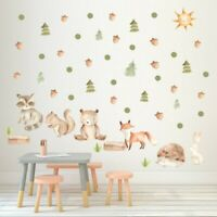 Woodland Animals Nursery Wall Sticker Forest Fox Bear Cartoon Decal Baby Kids