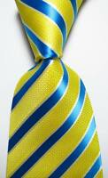 New Classic Striped Yellow Blue White JACQUARD WOVEN 100% Silk Men's Tie Necktie