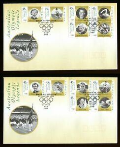 1998 Australia  Olympic Gold Medal Winner Legends pair of FDCs. Sydney first day