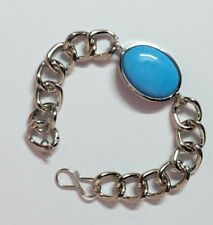 Salman Khan Fashion Bracelet for Men with Metal Chain and Blue Resin Stone