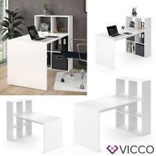 Vicco Schreibtisch Emir weiß Computertisch mit Ablage Regal Raumteiler Bürotisch