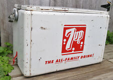 Vintage Retro Cronstroms 7Up Soda Beer Picnic Cooler w/Lid, Handle, Plug