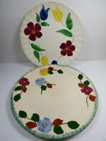 Set of 2 Blue Ridge Southern Potteries Flower Pattern hand painted plates
