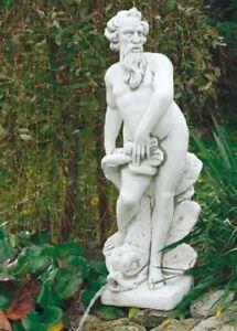 Neptun S297 Wasserspiel Fisch Gartenfigur Skulptur Statue Deko Steinguss 132 cm