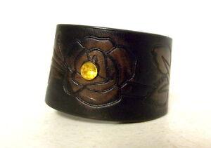 Reclaimed Belt Cuff Bracelet Flowers Rhinestone Indie Cowgirl Boho Western Brown