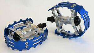 "Old School BMX Beartrap Pedals Blue - 9/16"" for 3 piece cranks"