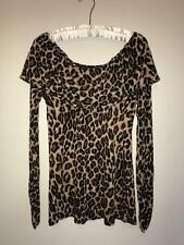 INC INTERNATIONAL CONCEPTS SIZE MEDIUM LEOPARD BLOUSE OFF SHOULDER LS TOP RAYON