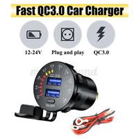 12V - 24V QC3.0 Fast Car Charger Power Socket Dual USB Port W/ Digital Voltmeter