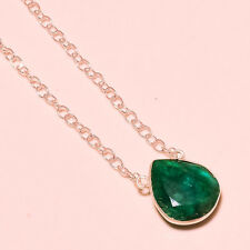 SAKOTA MINES EMERALD FACETED EXCELLENT.925 SILVER GEMSTONE JEWELRY NECKLACE 18""