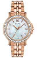 Bulova Women's Quartz Swarovski Crystal Accent Gold-Tone 34mm Watch 98L243