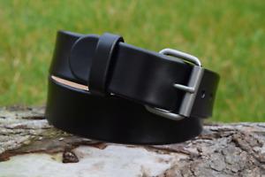 Handmade Full Grain Black Real Leather 1 1/2 in Belt Antique Brass Nickel Buckle