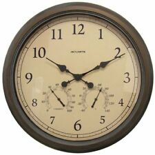 """Acurite 24"""" Copper Patina Indoor Or Outdoor Clock With Thermometer & (01061)"""