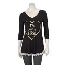 """Love Peace Lounge Junion Women's sleep shirt Black """"I'm just so Tired"""" size L-CL"""