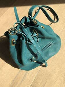JEROME DREYFUSS Emerald Green Leather Alain Drawstring bag